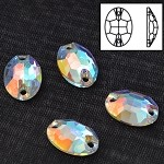 10x7mm  Crystal Oval Sew-on Stone by pc, DON-3063